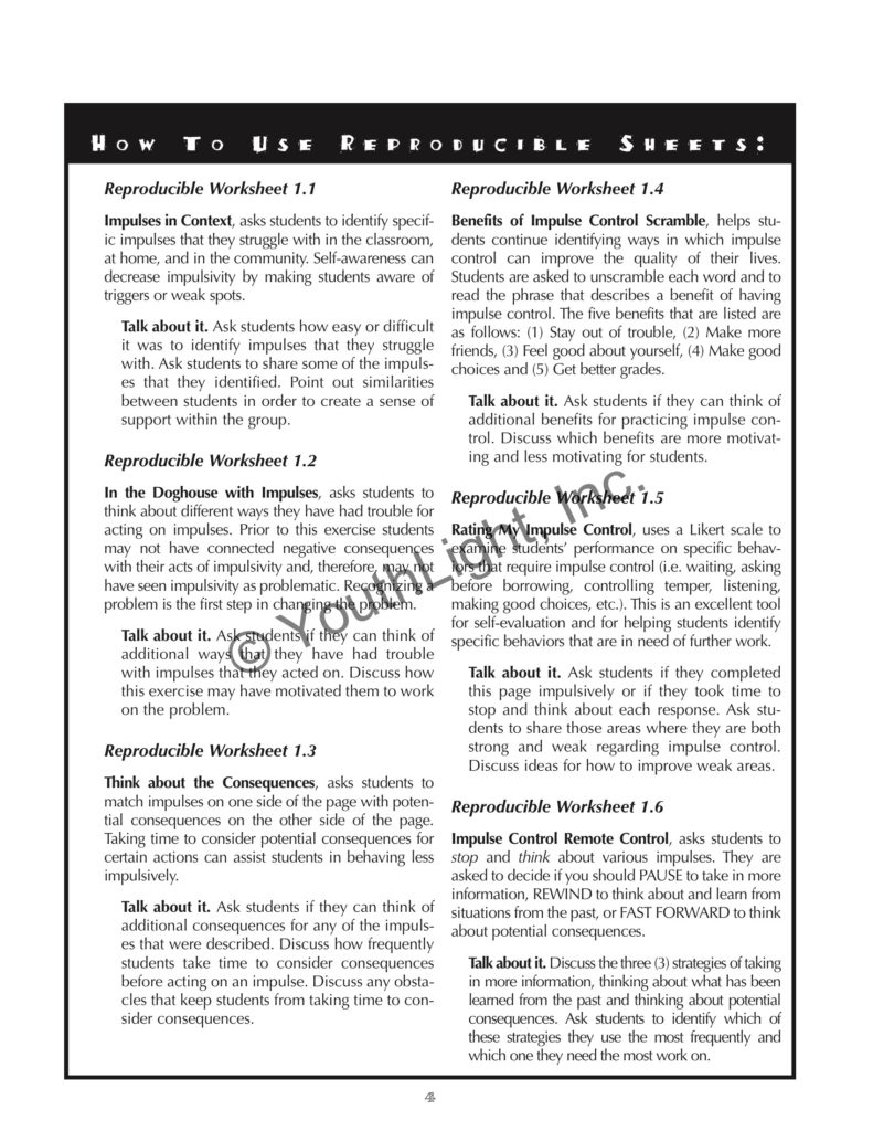 Impulse Control Activities & Worksheets for Middle School ...
